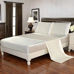 4pcs Silky Soft Luxury Bedding Cover Beige